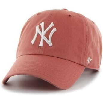 Casquette à visière courbée rouge avec grand logo frontal MLB NewYork Yankees 47 Brand
