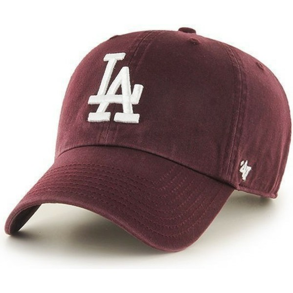 casquette-courbee-grenat-los-angeles-dodgers-mlb-clean-up-47-brand