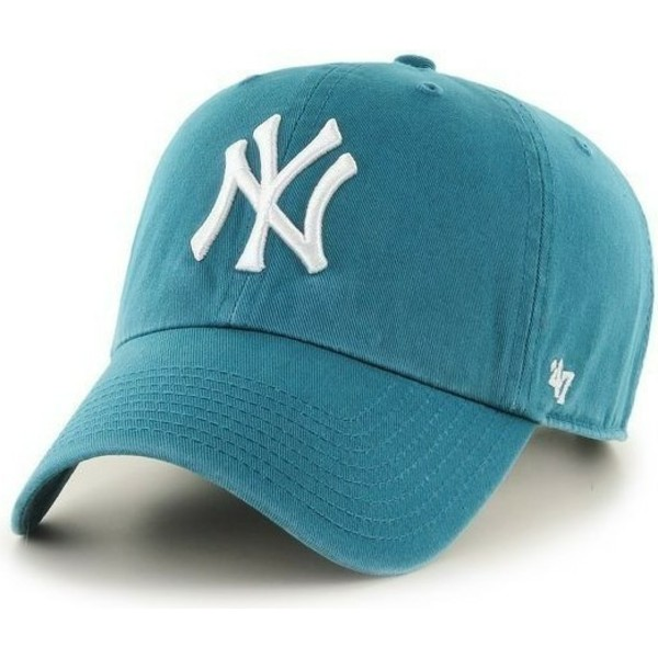 casquette-courbee-verte-sarcelle-new-york-yankees-mlb-clean-up-47-brand