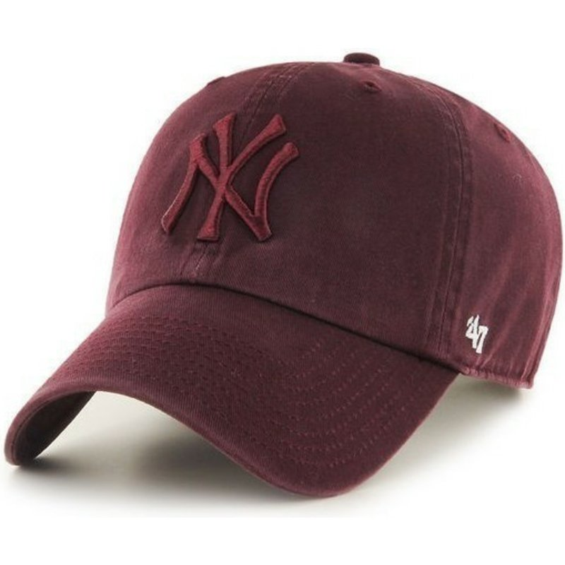 casquette-courbee-grenat-fonce-avec-logo-grenat-new-york-yankees-mlb-clean-up-47-brand