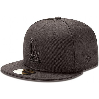 Casquette plate noire ajustée 59FIFTY Black on Black Los Angeles Dodgers MLB New Era