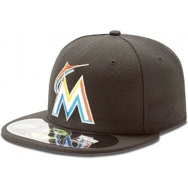 casquette-plate-noire-ajustee-59fifty-authentic-on-field-miami-marlins-mlb-new-era