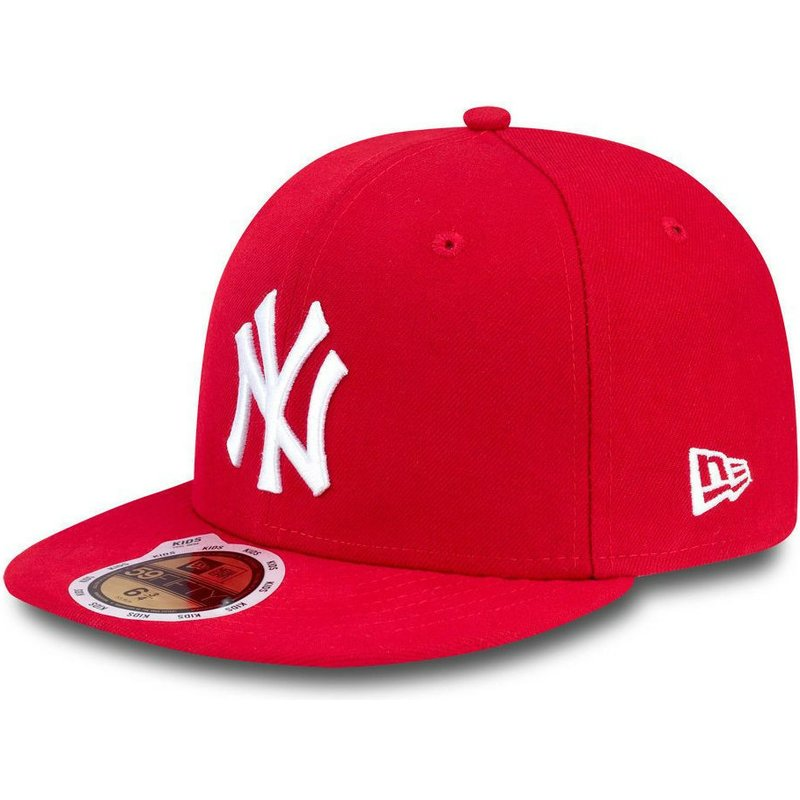 casquette-plate-rouge-ajustee-pour-enfant-59fifty-essential-new-york-yankees-mlb-new-era