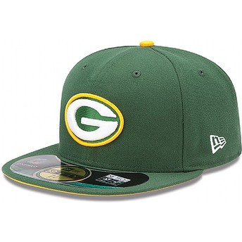 Casquette plate verte ajustée 59FIFTY Authentic On-Field Game Green Bay Packers NFL New Era