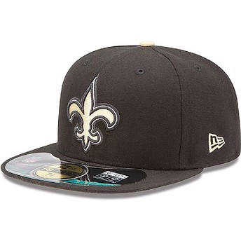 Casquette plate noire ajustée 59FIFTY Authentic On-Field Game New Orleans Saints NFL New Era