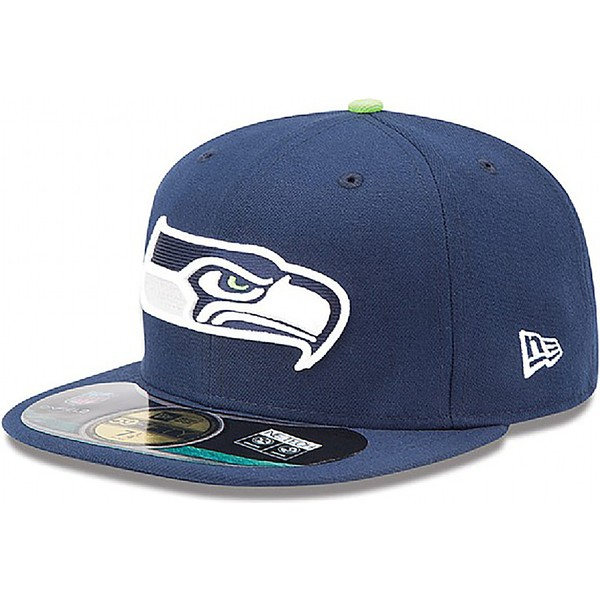 casquette-plate-bleue-ajustee-59fifty-authentic-on-field-game-seattle-seahawks-nfl-new-era