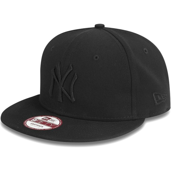 Casquette Plate Noire Snapback Ajustable 9fifty Black On