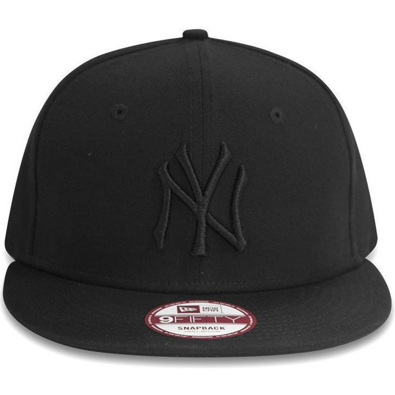 8e66023ddb643 Casquette plate noire snapback ajustable 9FIFTY Black on Black New ...