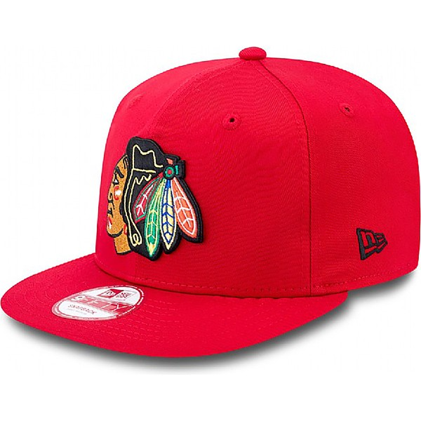 casquette-plate-rouge-snapback-ajustable-9fifty-cotton-block-chicago-blackhawks-nhl-new-era