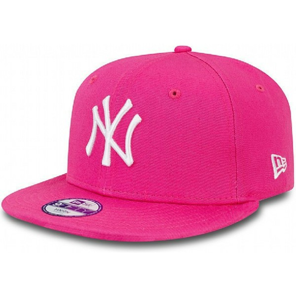 casquette-plate-rose-snapback-ajustable-pour-enfant-9fifty-essential-new-york-yankees-mlb-new-era
