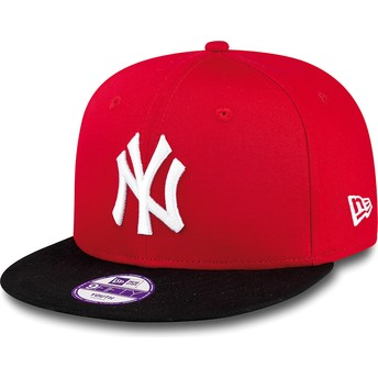 Casquette plate rouge snapback ajustable pour enfant 9FIFTY Cotton Block New York Yankees MLB New Era