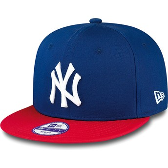 Casquette plate bleue snapback ajustable pour enfant 9FIFTY Cotton Block New York Yankees MLB New Era