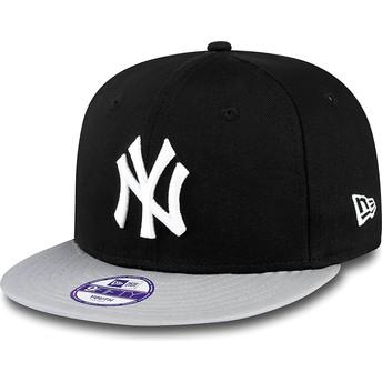 Casquette plate noire snapback ajustable pour enfant 9FIFTY Cotton Block New York Yankees MLB New Era