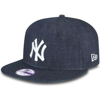 Casquette plate bleue marine snapback ajustable pour enfant 9FIFTY Essentialnim New York Yankees MLB New Era