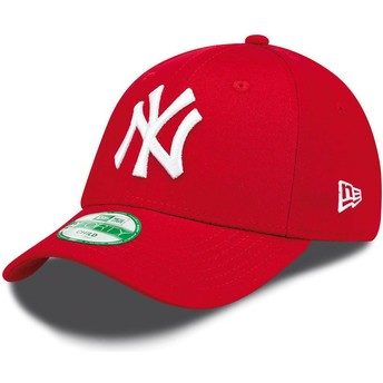 Casquette courbée rouge ajustable pour enfant 9FORTY Essential New York Yankees MLB New Era